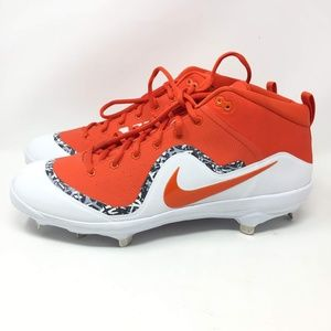 Nike Orange White Metal Mid Baseball Cleat 13 Men